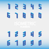 Set of isometric numbers blue. Royalty Free Stock Photography