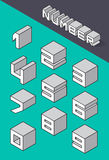 Set of the isometric numbers. Vector illustration Royalty Free Stock Image