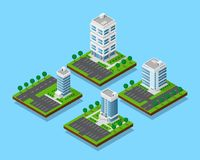 Isometric office buildings. Set of isometric office buildings with trees, skyscraper apartment and office buildings with street roads and parkigs, icons set Royalty Free Stock Photo