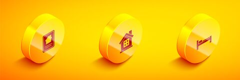 Set Isometric Online real estate house, House and Bed icon. Vector