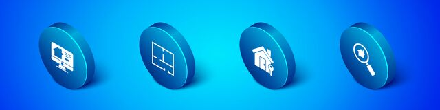 Set Isometric Online real estate house, House with key, Search and plan icon. Vector