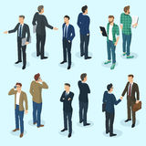 Set of isometric  people. Set of isometric 3d flat design vector standing  business people different characters, styles and professions. Isometric acting man Stock Photography