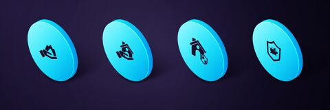 Set Isometric Piggy bank with shield, House, insurance and Hand holding fire icon. Vector