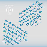 Set of isometric pixel alphabet and numbers blue color. Vector illustration Stock Illustration