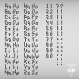 Set of isometric pixel alphabet and numbers gray color. Vector illustration Royalty Free Stock Images