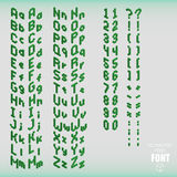 Set of isometric pixel alphabet and numbers green color. Vector illustration Stock Photography