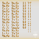 Set of isometric pixel alphabet and numbers orange color. Vector illustration Royalty Free Illustration