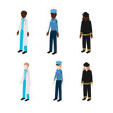 Set of isometric rescuers. Doctor, fireman and policeman vector illustration Stock Image