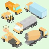 Set of isometric road construction machinery. Trucks, road roller, wheel loader, tank, lift machine. Front and back view. Stock Images