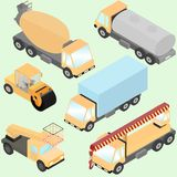 Set of isometric road construction machinery. Trucks, road roller, wheel loader, tank, lift machine. Front and back view. Royalty Free Stock Image