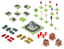 Set Isometric road and Vector Cars, Common road traffic regulatory, Building with a windows and air-conditioning. Vector illustrat Royalty Free Stock Images