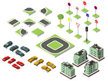 Set Isometric road and Vector Cars, Common road traffic regulatory, Building with a windows and air-conditioning. Vector illustrat Stock Image