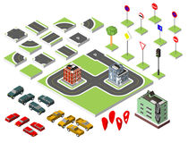Set Isometric road and Vector Cars, Common road traffic regulatory, Building with a windows and air-conditioning. Vector illustrat Stock Photography