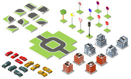 Set Isometric road and Vector Cars, Common road traffic regulatory, Building with a windows and air-conditioning. Vector illustrat Royalty Free Stock Photo