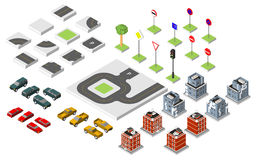 Set Isometric road and Vector Cars, Common road traffic regulatory, Building with a windows and air-conditioning. Vector illustrat Royalty Free Stock Photos