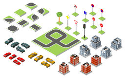 Set Isometric road and Vector Cars, Common road traffic regulatory, Building with a windows and air-conditioning. Vector illustrat Royalty Free Stock Image