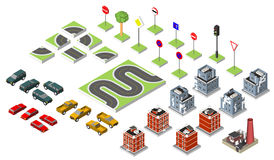 Set Isometric road and Vector Cars, Common road traffic regulatory, Building with a windows and air-conditioning. Vector illustrat Stock Photos