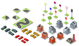 Set Isometric road and Vector Cars, Common road traffic regulatory, Building with a windows and air-conditioning. Vector illustrat Stock Photo