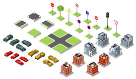 Set Isometric road and Vector Cars, Common road traffic regulatory, Building with a windows and air-conditioning. Vector Royalty Free Stock Photos