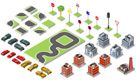 Set Isometric road and Vector Cars, Common road traffic regulatory, Building with a windows and air-conditioning. Vector Stock Photography