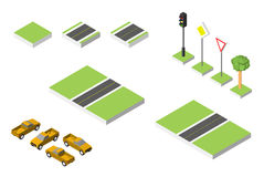 Set Isometric road and Vector Cars, Common road traffic regulatory. Vector illustration eps 10 isolated on white Stock Image