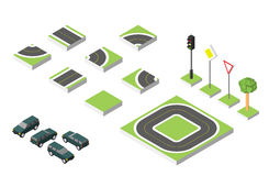 Set Isometric road and Vector Cars, Common road traffic regulatory. Vector illustration eps 10  on white Stock Images