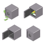Set of isometric safe boxes isolated on white Royalty Free Stock Photo