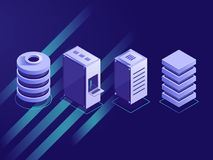 Set of isometric server rack royalty free illustration
