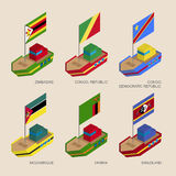 Set of isometric ships with flags of African countries Stock Photo