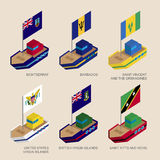 Set of isometric ships with flags of Caribbean countries Royalty Free Stock Photos