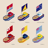 Set of isometric ships with flags of countries in Oceania. Set of isometric 3d ships with flags of countries in Oceania. Vessels with standards - Kiribati Royalty Free Stock Photography