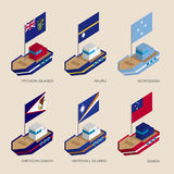 Set of isometric ships with flags of countries in Oceania. Set of isometric 3d ships with flags of Oceania countries. Vessels with standards - Pitcairn Islands Royalty Free Stock Photography