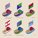 Set of isometric ships with flags of countries in Oceania. Set of isometric 3d ships with flags of countries in Oceania. Vessels with standards - Vanuatu, Fiji Royalty Free Stock Photography