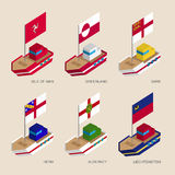 Set of isometric ships with flags of countries and territories Stock Image