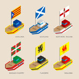 Set of isometric ships with flags of European regions Royalty Free Stock Images