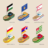 Set of isometric ships with flags of partially recognised states Royalty Free Stock Image