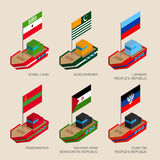 Set of isometric ships with flags of partially recognised states Stock Photography