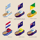 Set of isometric ships with flags of South America countries Royalty Free Stock Image