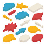 Set of isometric speech bubbles and arrows. Set of 3d isometric speech bubbles  on white background. Includes circle, star and rectangle shapes, arrows, clouds Royalty Free Stock Photo