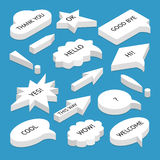 Set of isometric speech bubbles with text. Set of 3d isometric speech bubbles with text, with shadow, isolated. Includes circle and rectangle shapes, isometric Royalty Free Stock Image