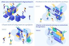 Set Isometric Success in Business Feedback Project. Set Template article, Isometric concept success in business, feedback, teamwork, project, social network stock illustration
