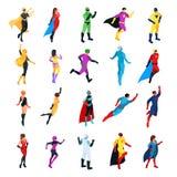 Set of isometric superheroes isolated on white background. stock illustration