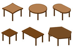 Set of isometric tables. Set of six isometric brown wooden tables Stock Photo