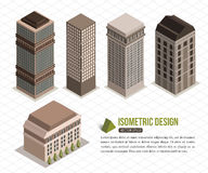 Set of isometric tall buildings for city building Royalty Free Stock Photos
