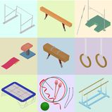 Set of isometric tools for artistic gymnastics. Set of sporting. Elements in vector, isolated Royalty Free Stock Images
