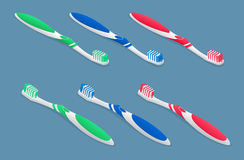 Set of isometric Toothbrushes on light background. Flat 3d vector illustration. Royalty Free Stock Photo