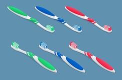 Set isometric Toothbrushes na lekkim tle Płaska 3d wektoru ilustracja royalty ilustracja