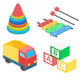 Set of isometric toys. Flat 3D illustration Royalty Free Stock Photography