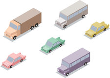 Set of isometric transport: car, lorry and bus Royalty Free Stock Image
