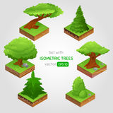 Set with isometric tree in cartoon style. Can be used for game. Vector illustration. EPS 10 stock illustration
